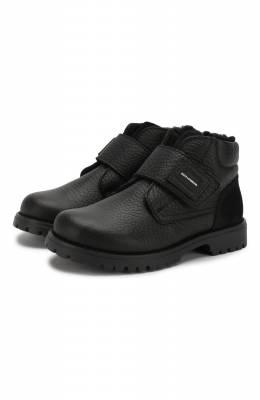 Кожаные ботинки с меховой отделкой Dolce&Gabbana DA0221/AU492/24-28