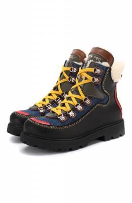 Кожаные ботинки с меховой отделкой Dsquared2 62452/36-41