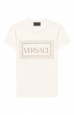 Хлопковая футболка Versace YC000140/YA00019/6A