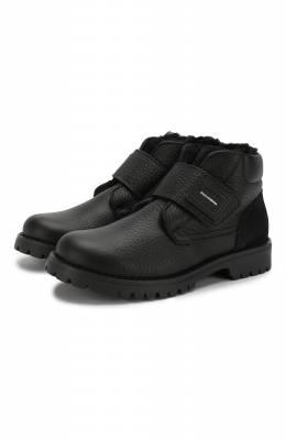 Кожаные ботинки с меховой отделкой Dolce&Gabbana DA0221/AU492/29-36